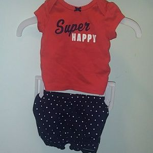 Carter's heart super happy outfit bubble shorts